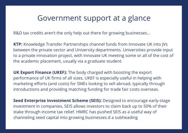 Government support at a glance