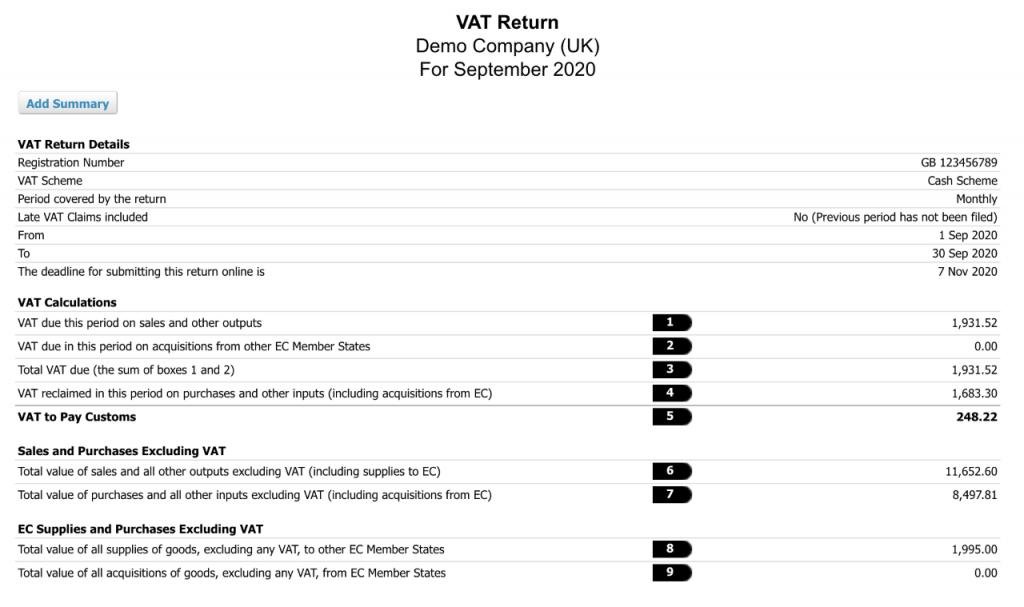 Image of VAT return form
